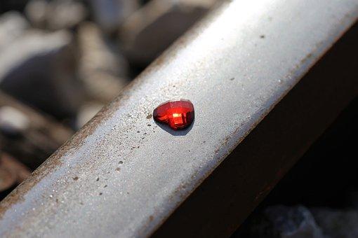 Glowing Red Heart On Railway, Stop Children Suicide