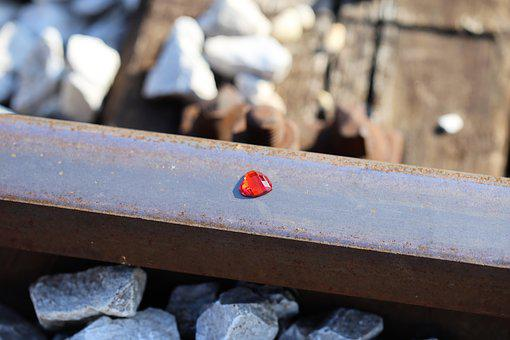 Red Heart On Railway, Stop Children Suicide