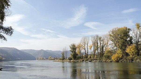 Danube, Austria, River, Church, Nature, Autumn