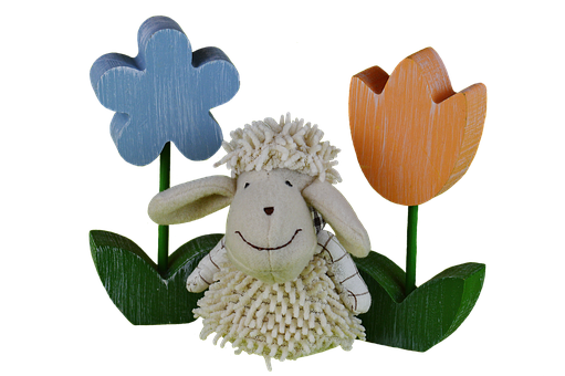 Sheep, Tulips, Colorful, Flowers, Wood, Spring, Easter