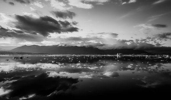 Panorama, Iceland, Sea, Ocean, Reflections, Sunset, Ice