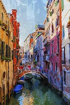 Venice, Italy, Canal, Bridge, Gondola, Sky, Outdoors