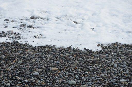Edge Of The Sea, Shore, Stones, Sea, Waves, Foam, Beach