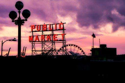Seattle, Washington, City, Urban, Silhouettes