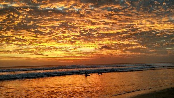 Bali, Kuta, Beach, Sunset, Surfing