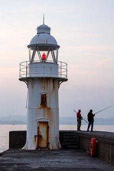 Lighthouse, Breakwater, Brixham, Coast, Sea, Water
