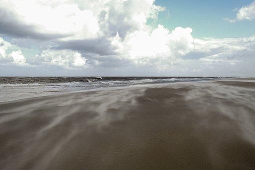 Beach, Sand, Wind, Clouds, Sand Beach, North Sea, Sea