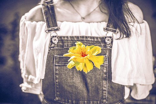 Flower, Yellow, Country Girl, Faded Denim