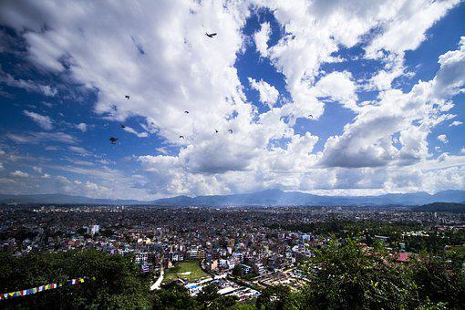 Sky, Dynamic, Clouds, City, Syambhu, Blue, Colour, High