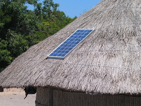 Solar Panel, Roof, Straw, Hut, Solar, Panel