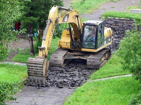 Excavator, Asphalt, Road Repair, Technique