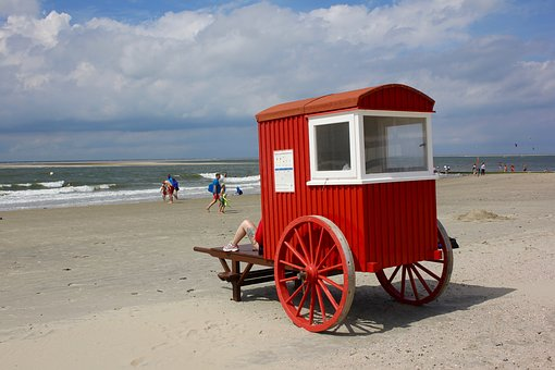Badekarren, Beach Carts, Beach, Sea, Beach Sea, Holiday