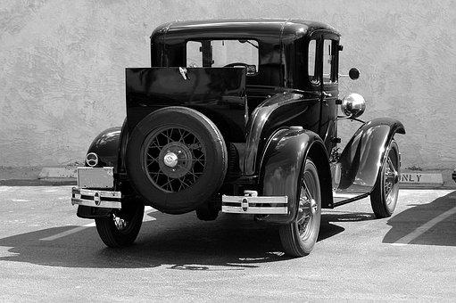 Old Model T-ford, Black, White, Vintage, Car