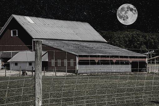 Barn, Rustic, Barns, Night, Moon, Ohio, Digital Art