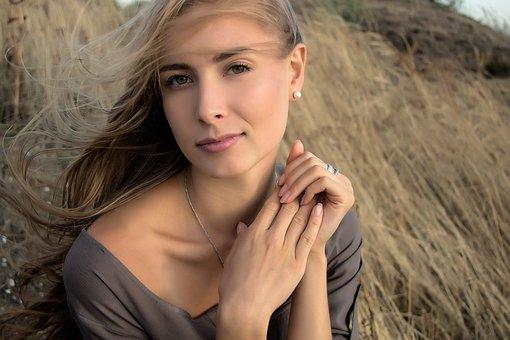 Girl, Blonde, Hands, Model, Portrait, Eyes, Person