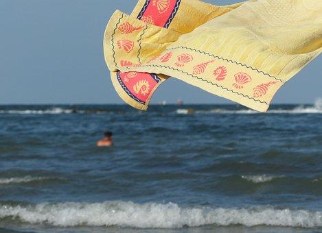 Beach, Sea, Towel, Wind, Summer, Holiday, Hot, Italy