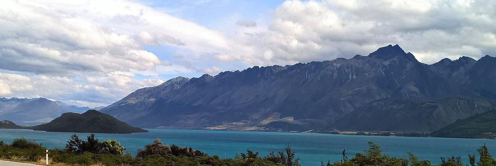Lake, Turquoise, Mountain, Summer, Sky, Clouds, Blue