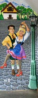 Wall Mural, Alpine Dancers, German, Painting, Colorful
