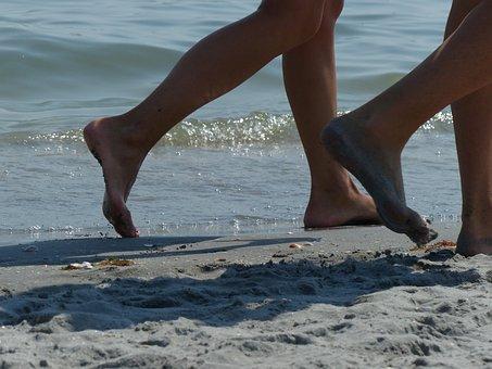 Feet, Path, Sand, Beach, Set, Walk, Direction, Couple