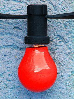 Bulb, Red Bulb, Red Light, Party, Detail