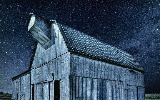 Barn, Rustic, Barns, Night, Ohio, Digital Art, Rural