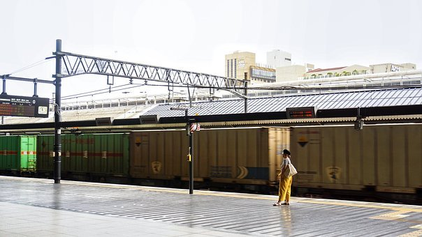 Station, A Person, The Other Car, Train, Japan