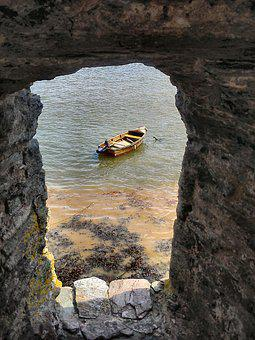 Boat, Water, Rocky, Cave, Sea, Transportation