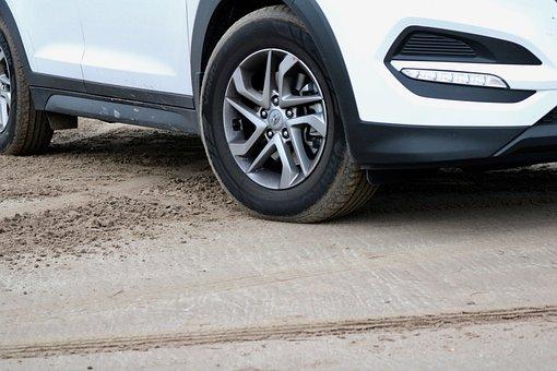 Auto, Parked, Sand, Dust, Alloy Wheel, White