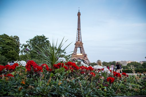 Paris, Eiffel Tower, Flowers, Postcard, Sky