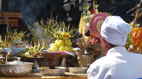 Indonesia, Bali, Temple, Prayer, Offering, Fruit, Altar