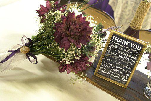 Wedding, Ceremony, Thank You, Flowers, Purple, Gold