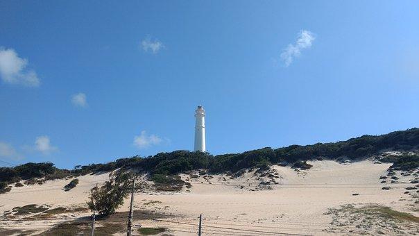 Lighthouse, Dunes, Sand, Coast, Landmark, Beacon