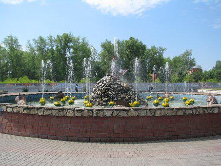 Summer, Fountain, Water, Spray, Sculpture, Sun, Drops