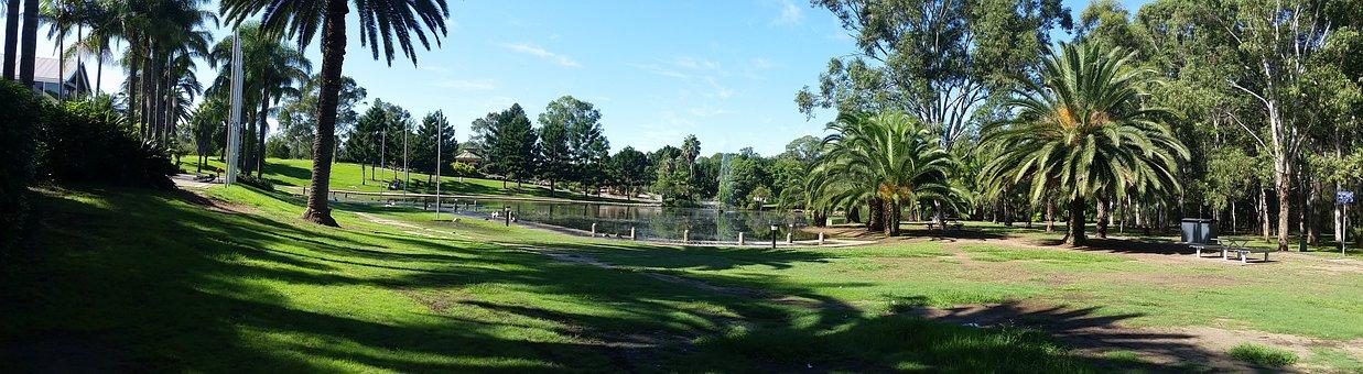 Pond, Park, Grass, Trees, Blacktown, Nsw, Australia