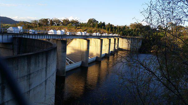 Floodgates, Dam Wall, Water, Burrendong Dam