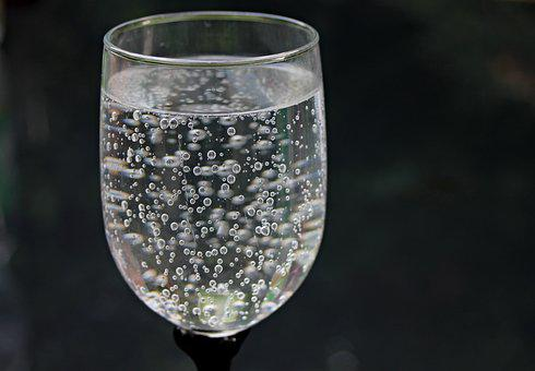 Water Glass, Water, Mineral Water, Bubble, Beads