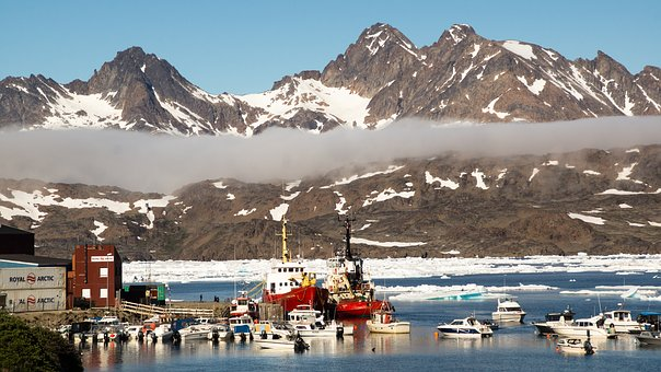 Port, Arctic, Harbor, Ship, Water, Mountain, Ice, Snow