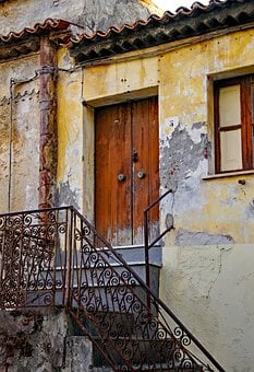 Closed, Door, Time, End, Old, Railing, Casa Antica