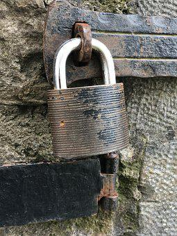 Castle, Padlock Old, Metal, Closed, Moments