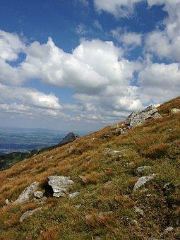Mountains, Tatry, Sky, Clouds, Grass, Slope, Landscape