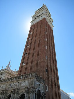 Tower, Venice, Italy, Blue Sky, Sun, Monument