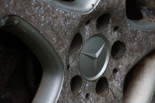 Mercedes, Old, Wheels, Oxidized, Scruffy, Oldtimer