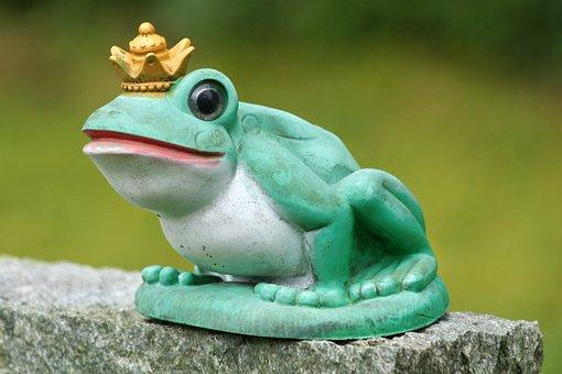 Frog, Frog Prince, Sculpture, Art, Deco, Crown