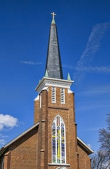 Country Church, Steeple, Scenery, Trees, Autumn, Fall