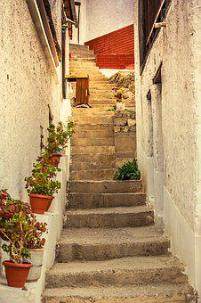 Stairs, Lane, Narrow, Stone, Old, Building, Staircase