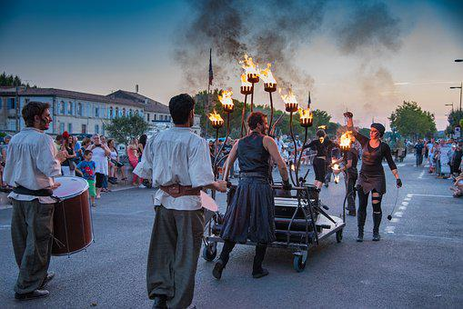 Fire, Juggler, Holidays, Parade, Beaucaire, Char