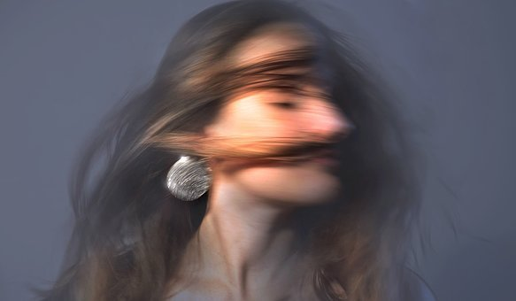 Portrait, Woman, Face, Hair, Movement, Swing