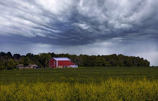 Barn, Rustic, Barns, Ohio, Storm, Storm Clouds