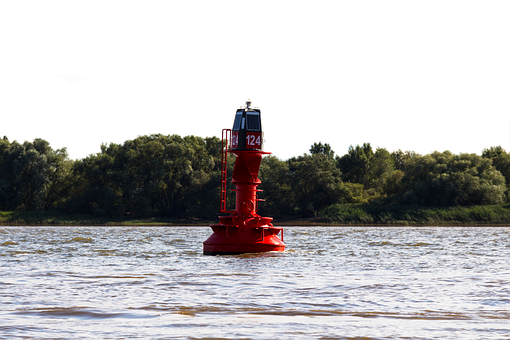 Boje, Elbe, Sea, Isolated, Hamburg, Water, Port, River