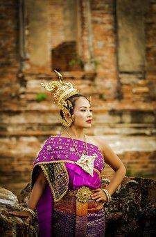 Thailand, Thailand Sets, Ancient, Lady, Purple, Gold
